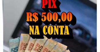 500,00 no pix